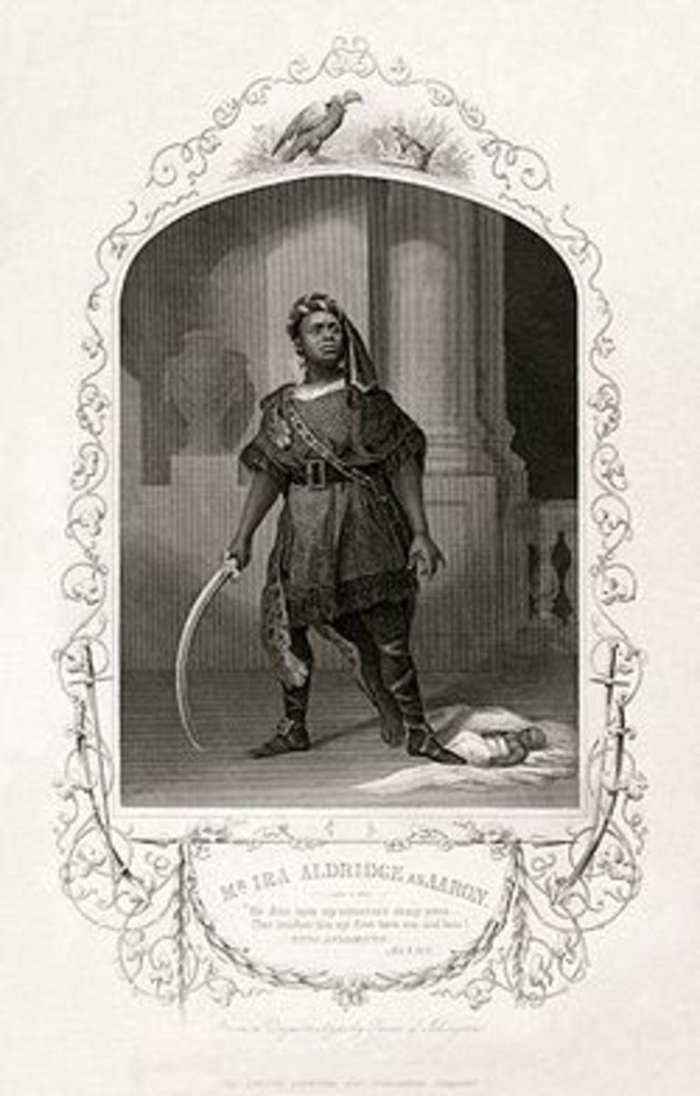 Ira Aldridge starring as Aaron the Moor in his own production of Titus