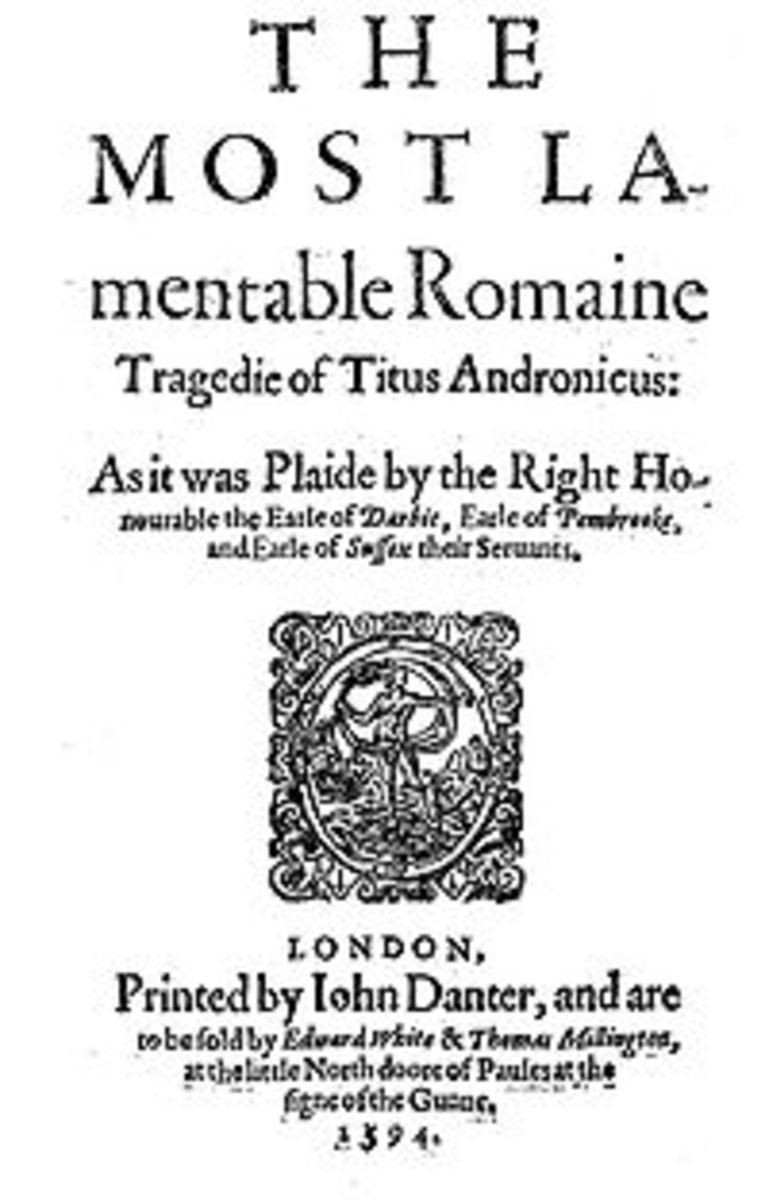 Title page to the first edition of Titus Andronicus, printed in 1594
