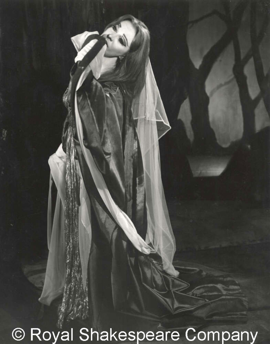 Vivien Leigh as Lavinia in Brook's Titus, her wounds represented by scarlet streamers