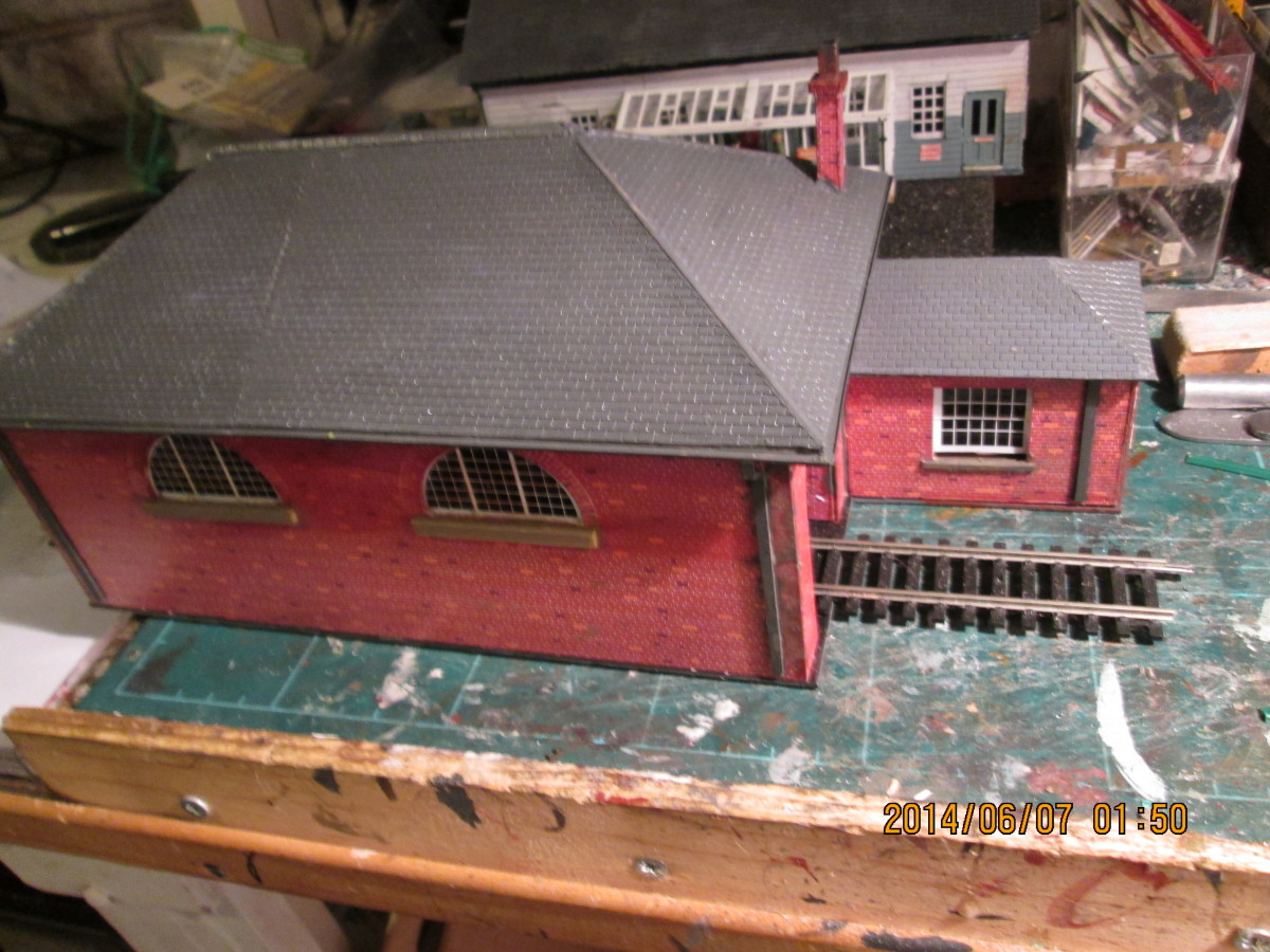 An overhead view of the shed showing the weigh office window facing the wagon entry/exit point  a weighbridge would be added under the track