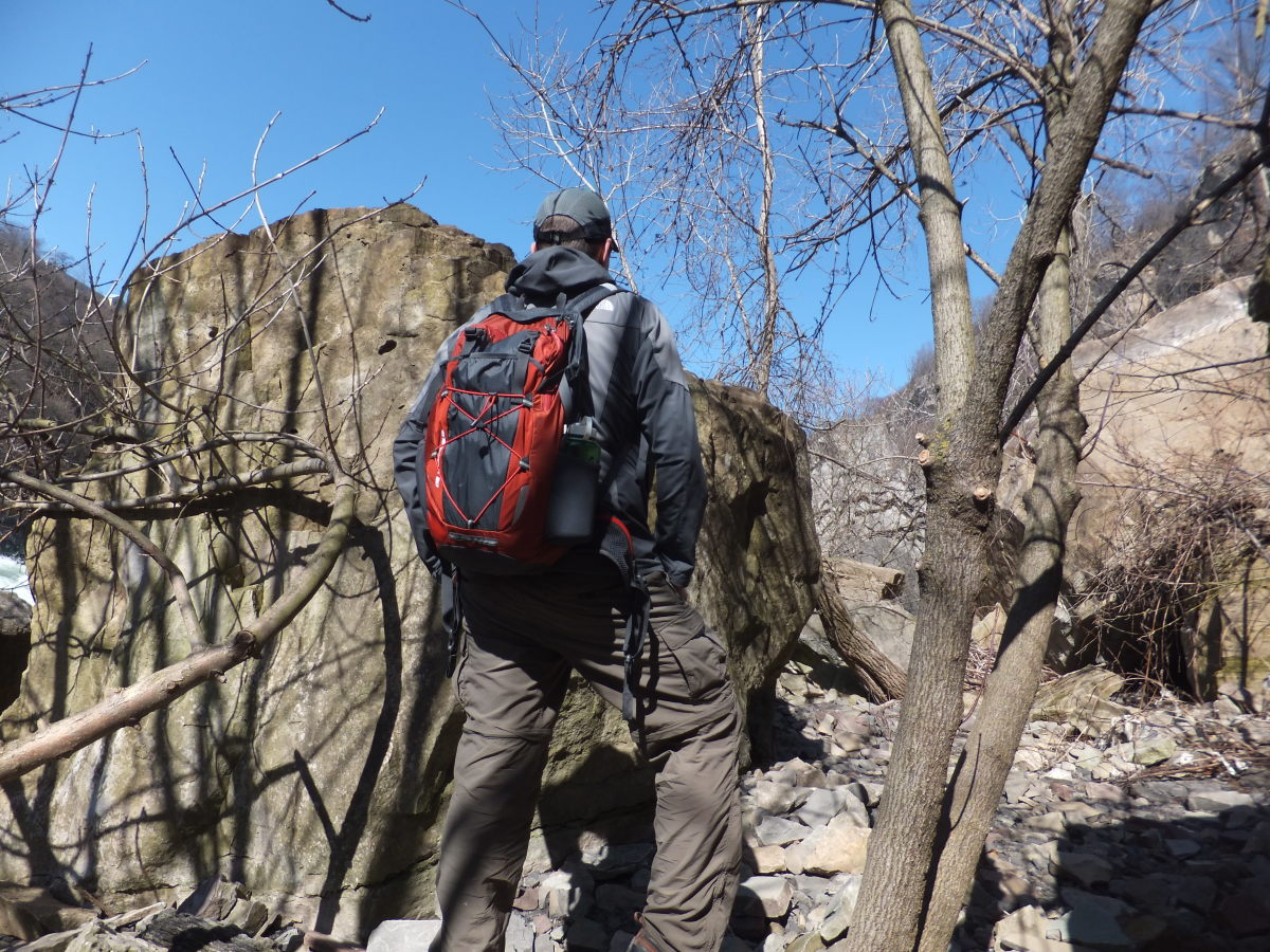 Here I am hiking with the Angstrom pack.