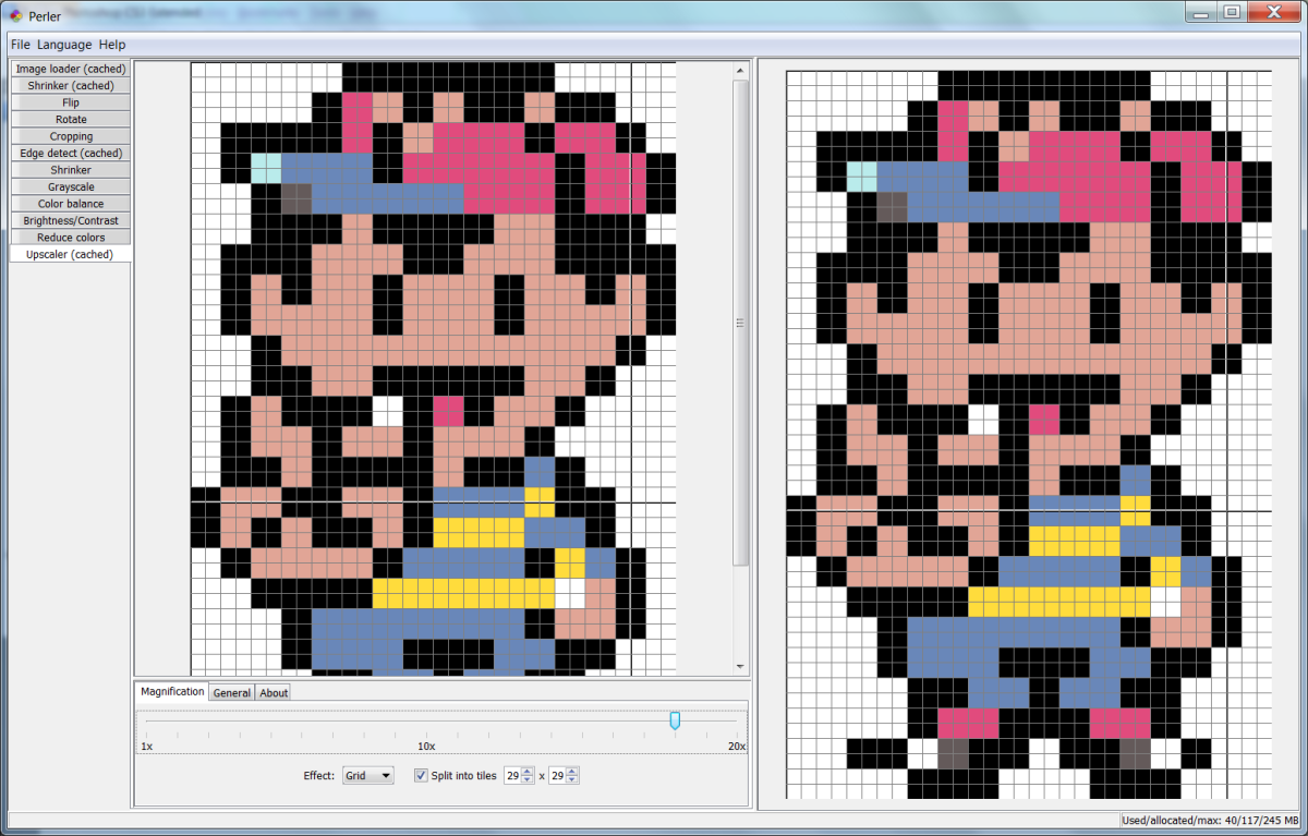 Perler program after upscaling sprite.