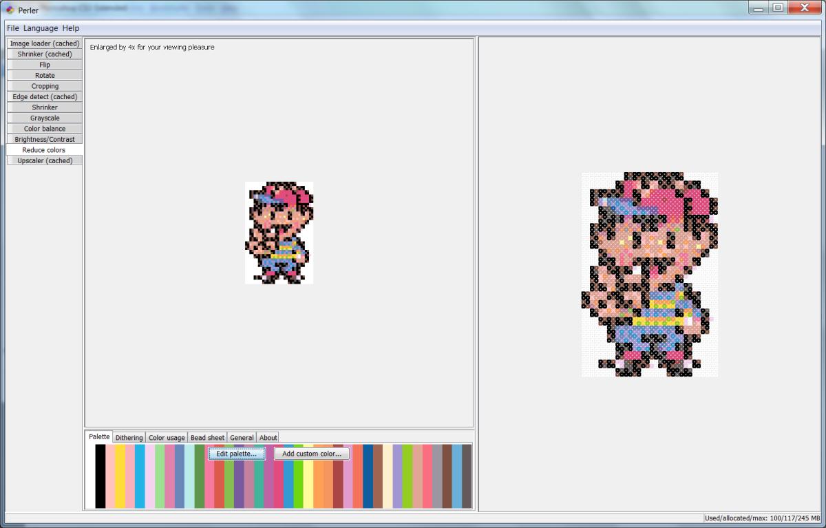 Perler program after choosing palette.