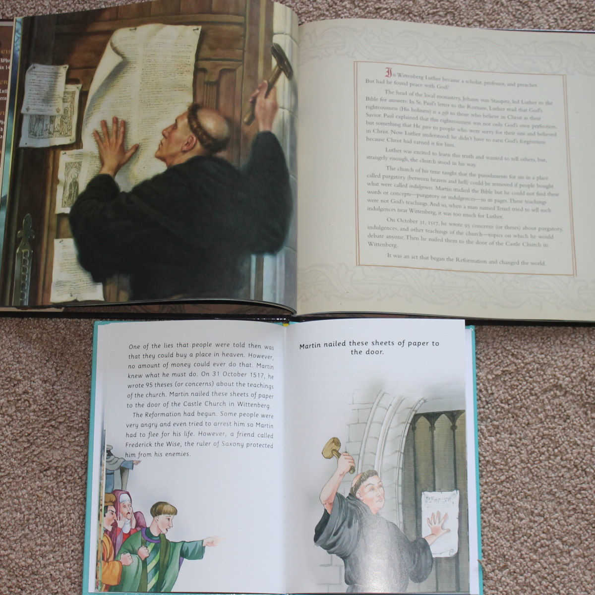 Comparing the text amount and illustrations between the two picture books on Martin Luther