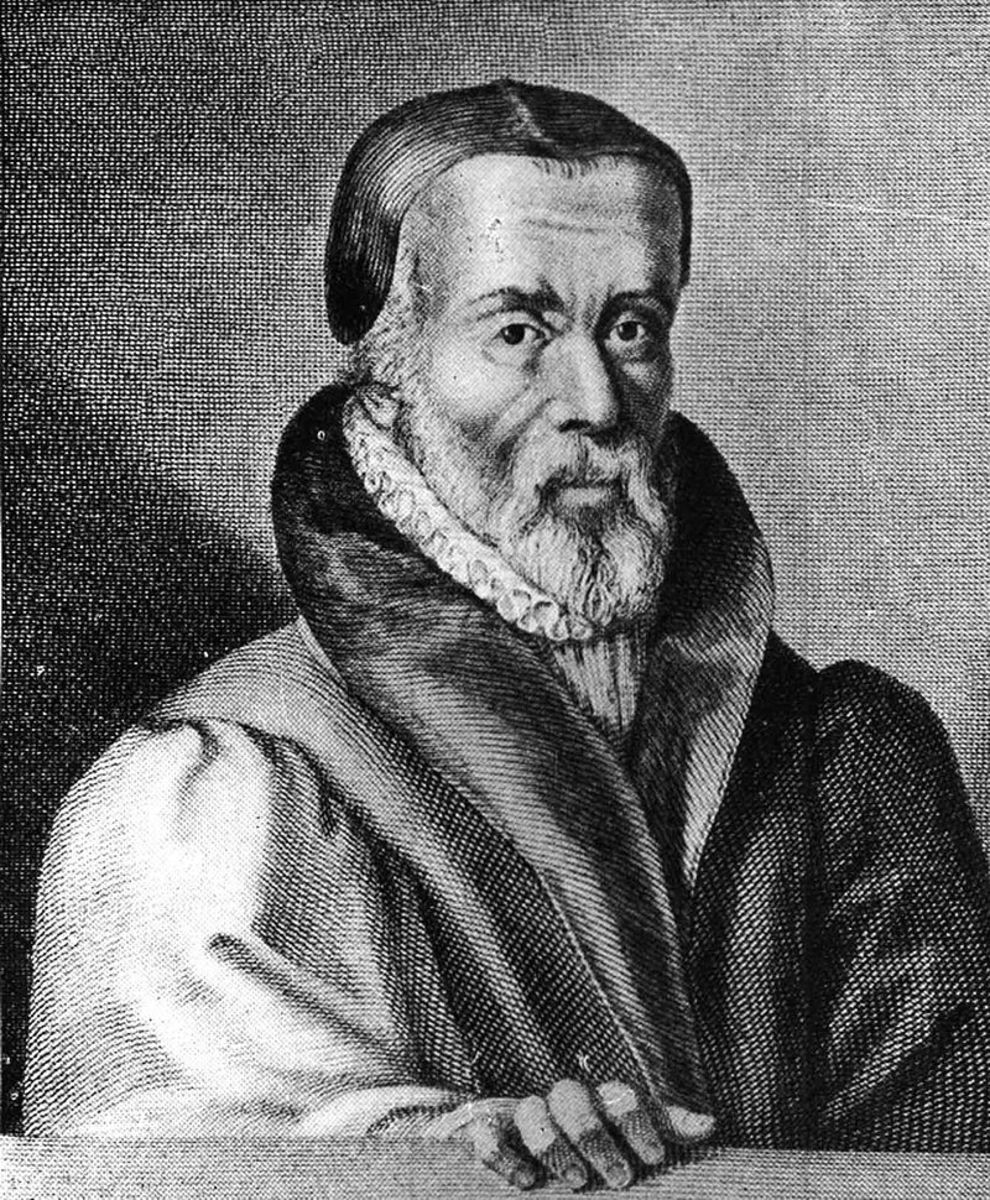 William Tyndale, Protestant reformer and Bible translator. Portrait from Foxe's Book of Martyrs.