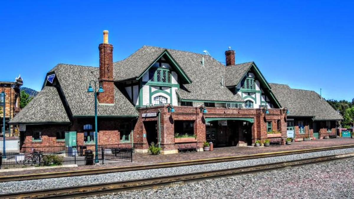 The Visitor Center and train station in downtown Flagstaff
