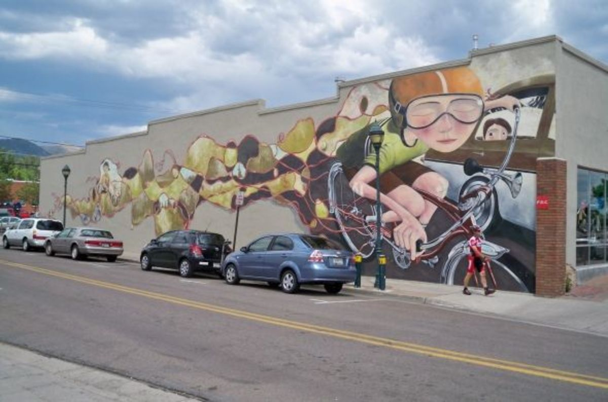 Absolute Bikes mural on Route 66 in Flagstaff