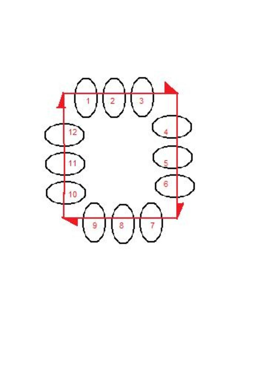 This is the first unit of the three bead square. Note the direction of the arrows.  This is your needle path.