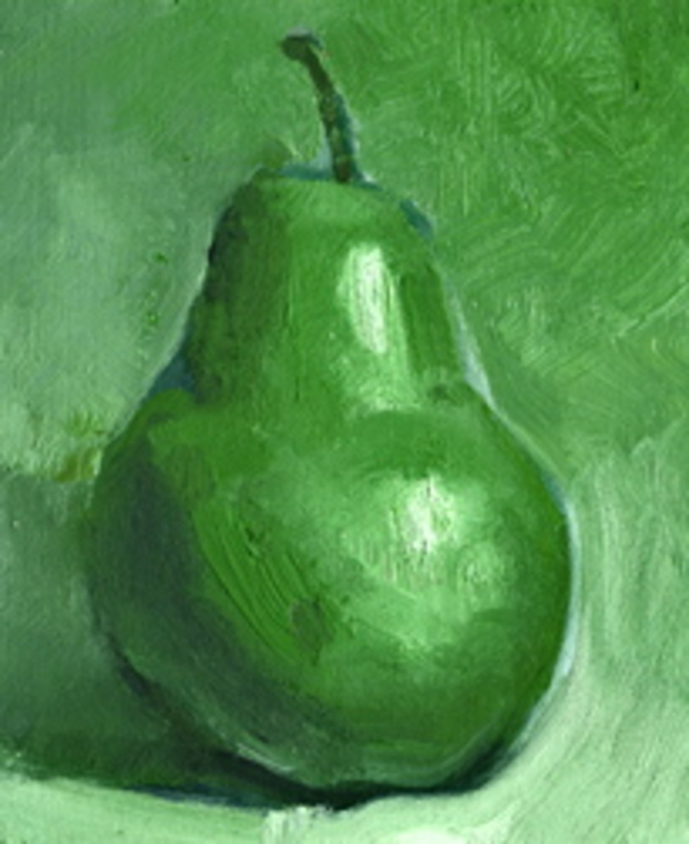 Another student canvas (without the value scale) of a pear.  It's compliment will be a red pear on the second half of the canvas.