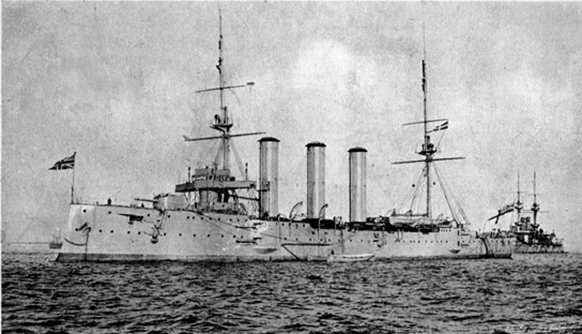 HMS Monmouth was one of the early naval casualties of WW I.  She was sunk with all hands in the Battle of Coronel, off the Chile coast, November 1914.  Naval fleets of the day were coal-powered.  Image courtesy Wikimedia Commons.