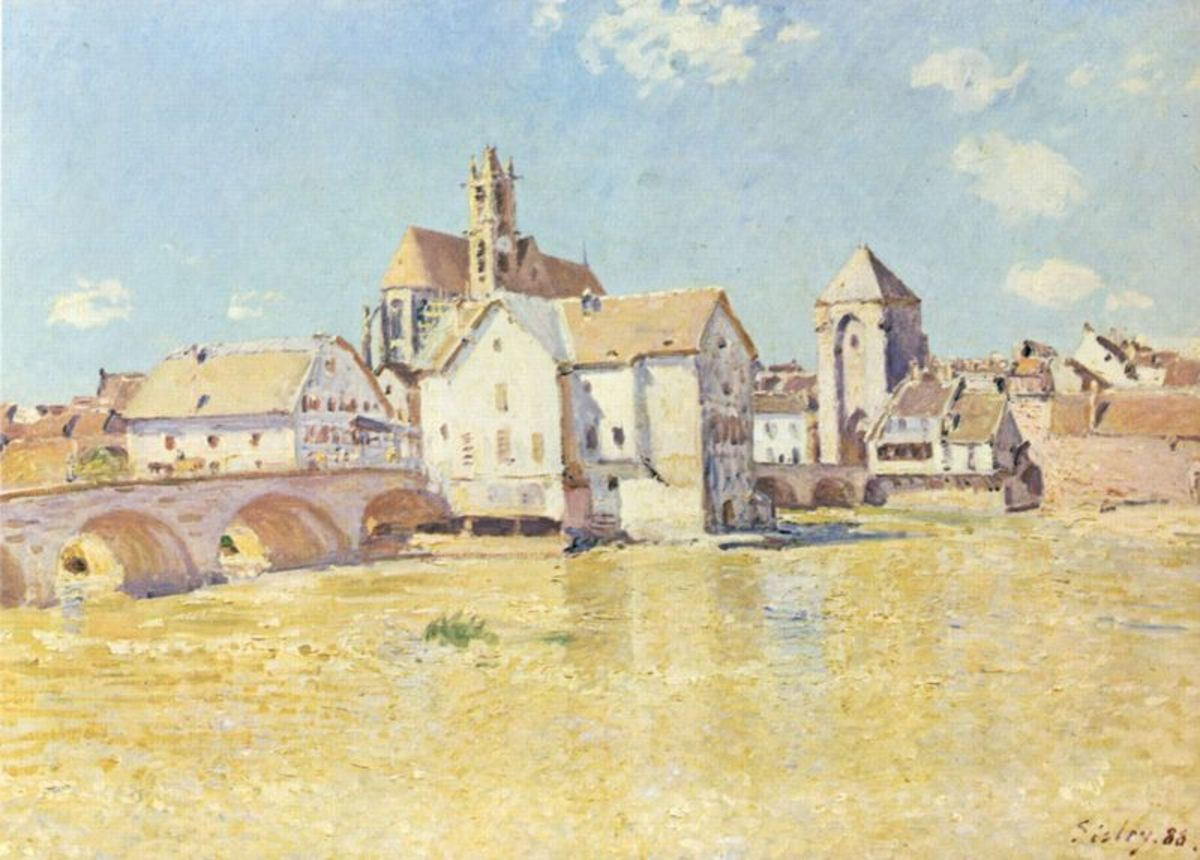 'The Bridge at Moret in in the morning sun' by Alfred Sisley, 1888. Image courtesy of Wiki Commons