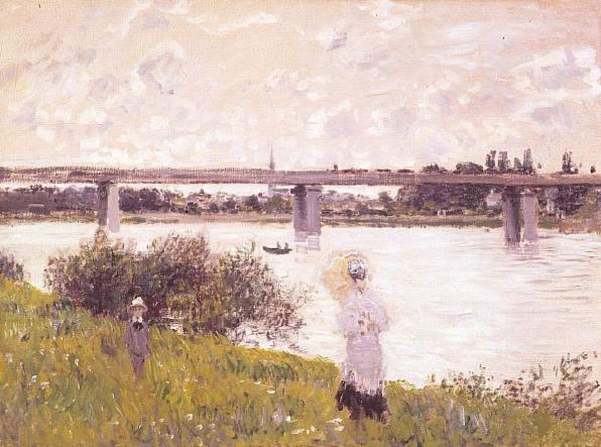 Claude Monet - The Promenade with the Railroad Bridge, Argenteuil, 1874. Image courtesy of Wiki Commons