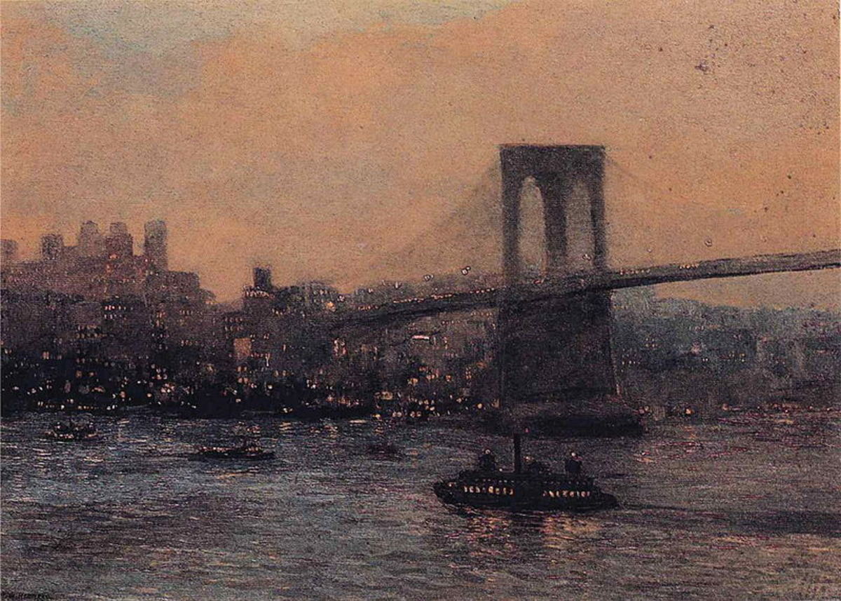 Brooklyn Bridge at Night by Edward Willis Redfield, 1909. Image courtesy of Wiki Commons