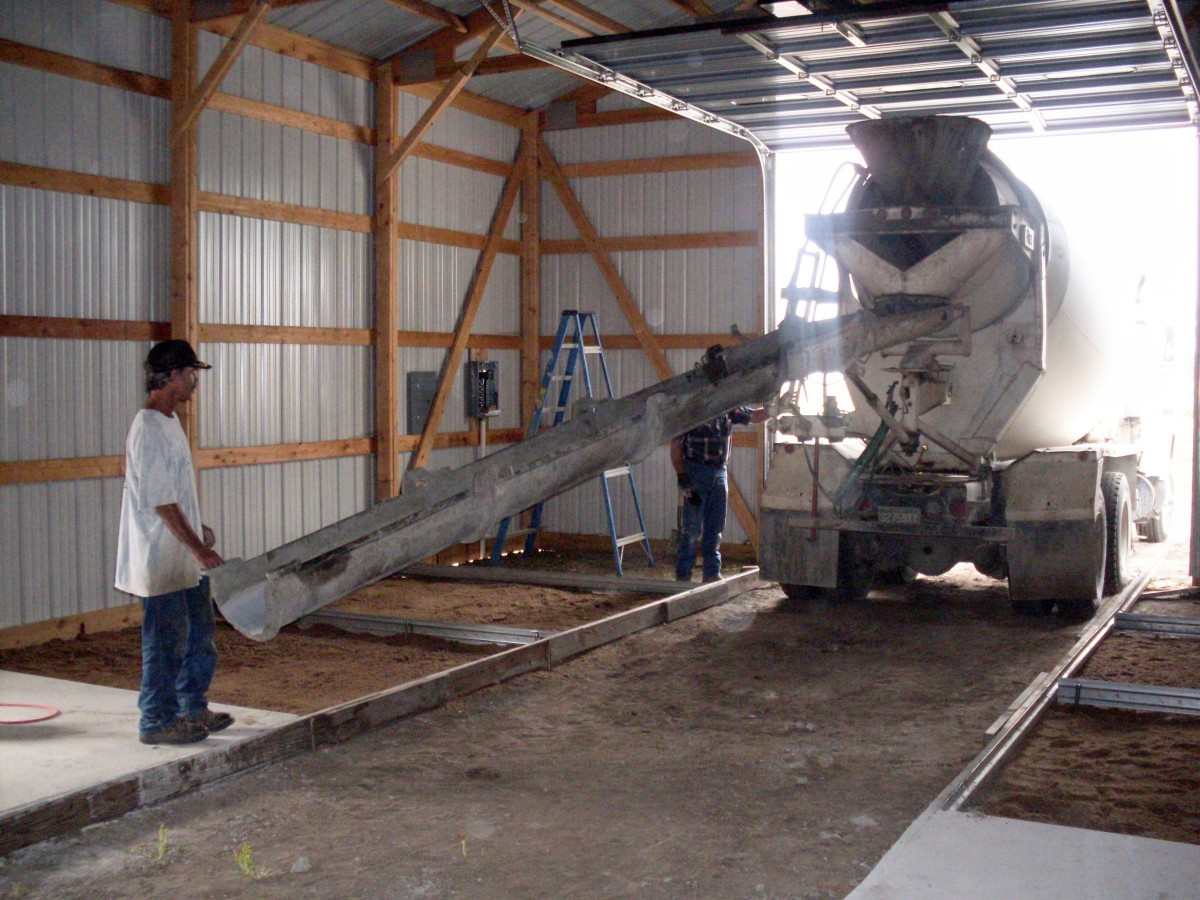 They see how the chute sections are put in place, and how the truck is backed toward the far interior of the building. They know that a good truck driver is worth a lot, and have seen the messy results of some poor ones.