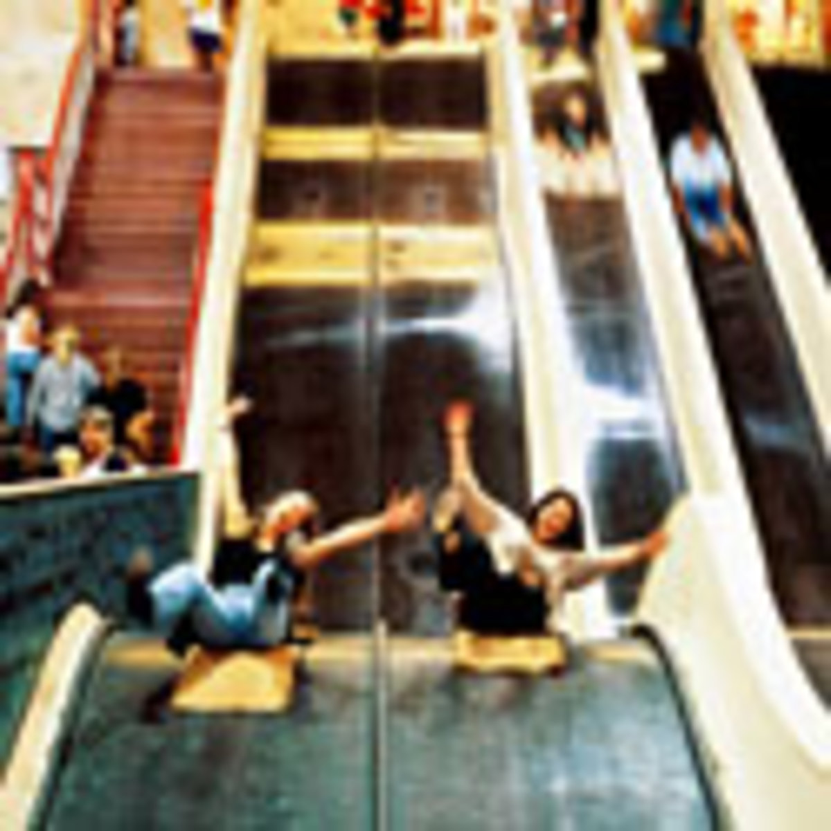 The Big Slide in side Steeplechase and when you got to the bottom alllot of spinners on a polished wood floor.