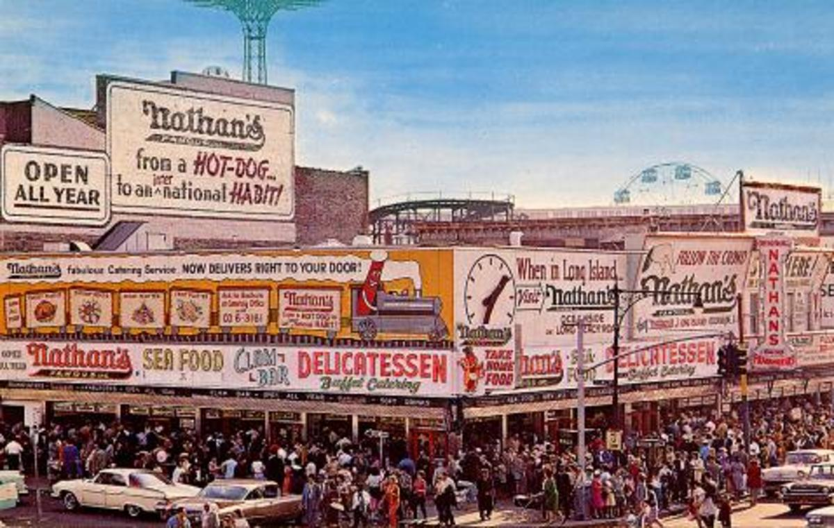 The Famous Nathan's In Coney Islands on StillWell ave 1963
