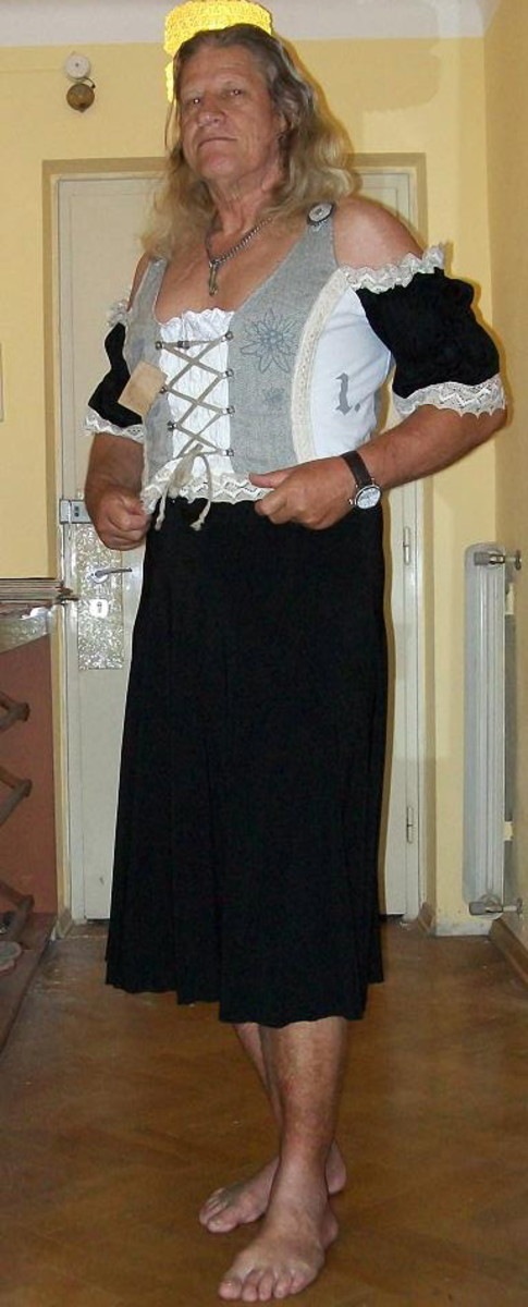 trying on a traditional Bavarian Dirndl, very nice to wear.