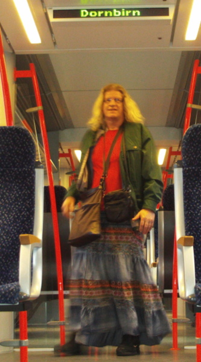 Gipsy skirt in local train at Lake Constanze