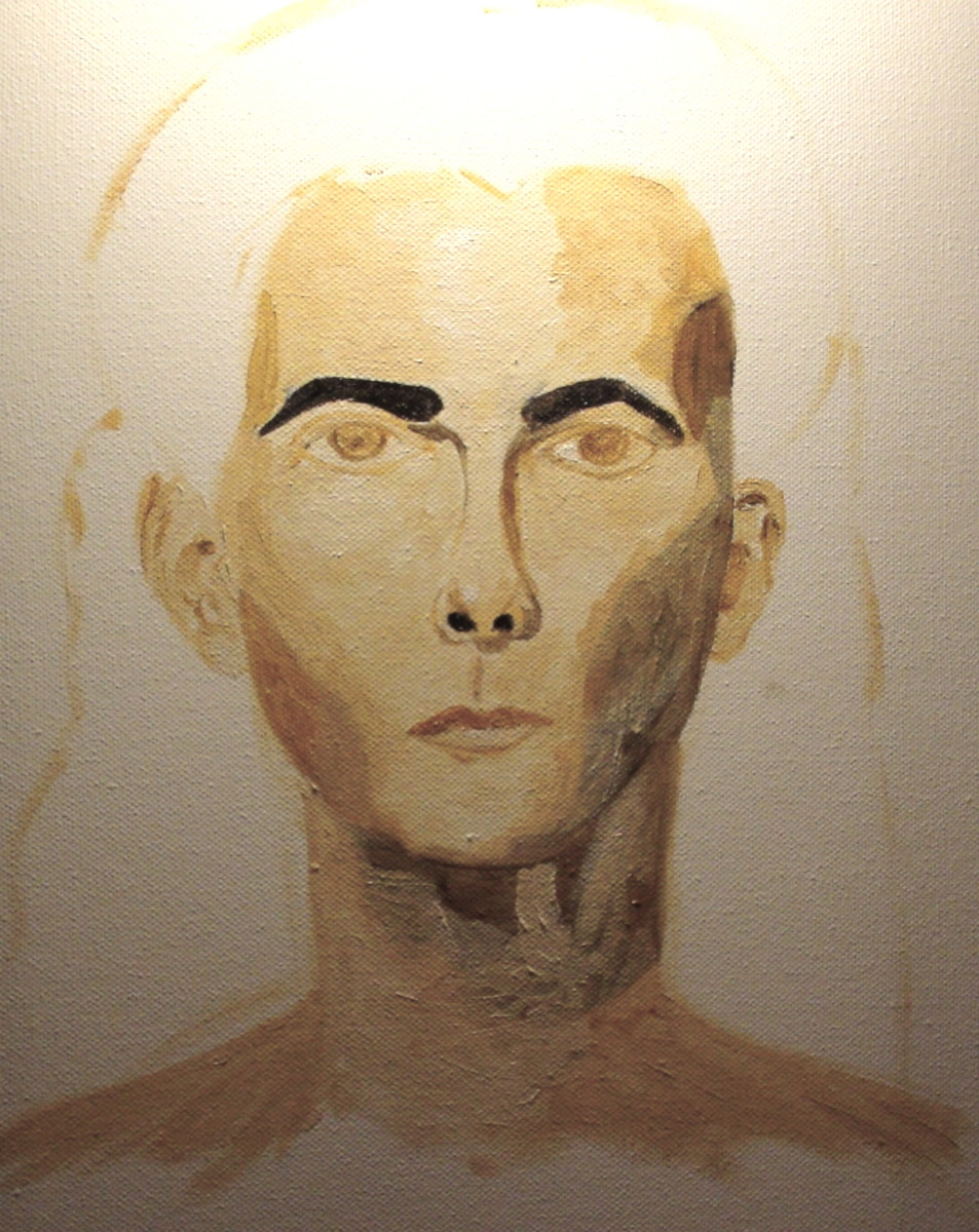 Beginning to paint under color mapping out values in Raw Sienna.