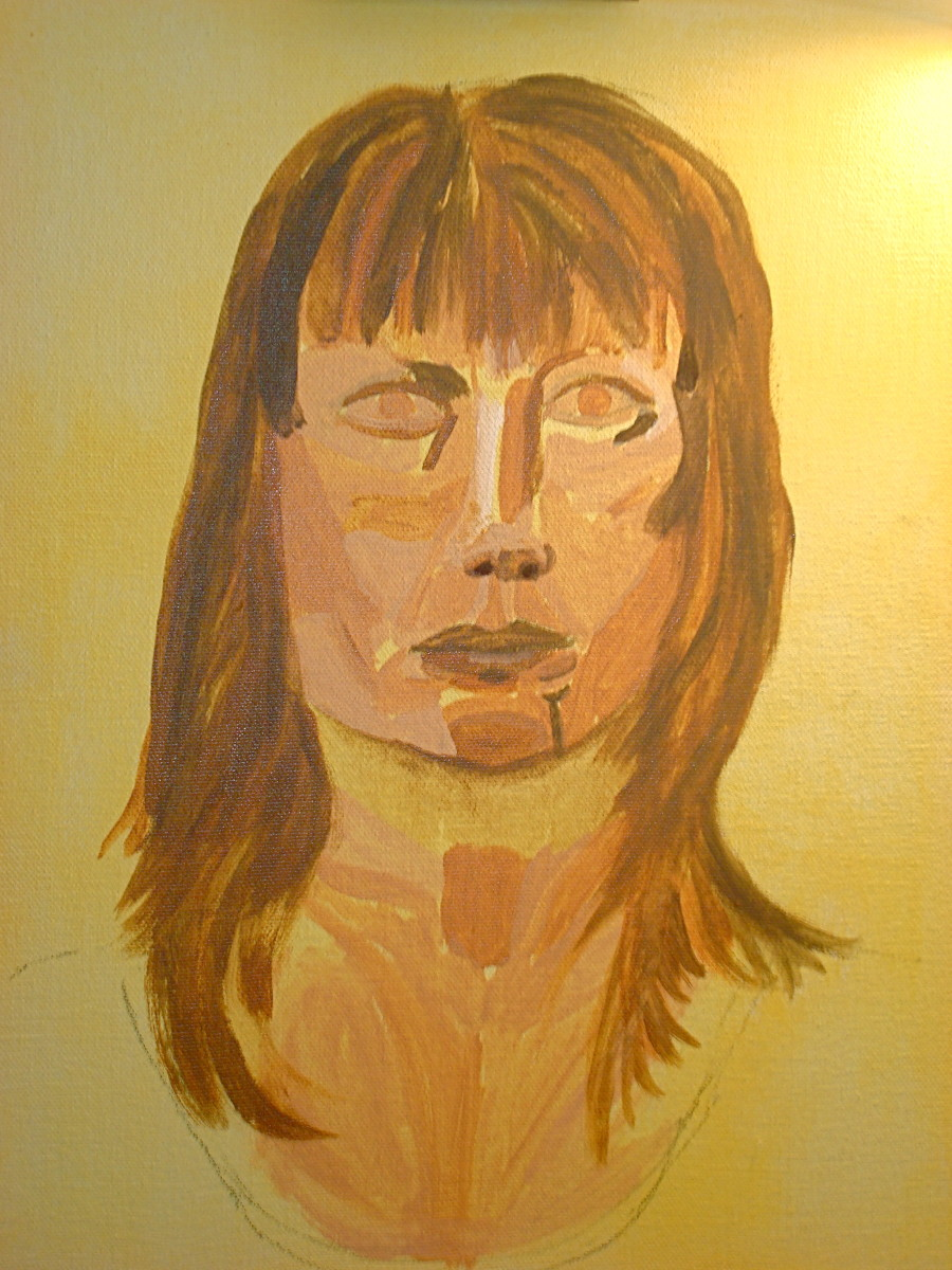 First self-portrait - underpainting.  It is missing it's darkest values/black