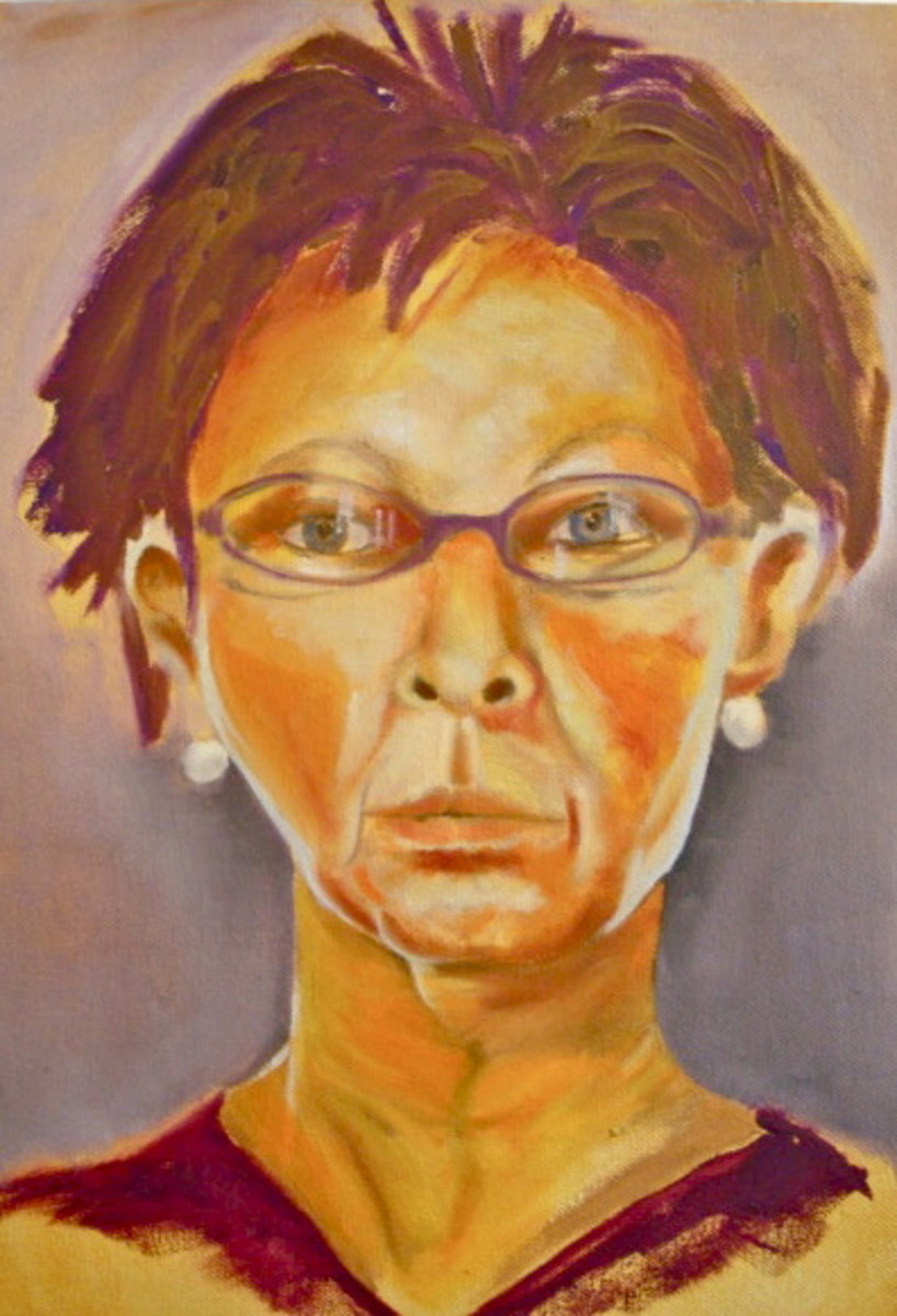 This is a finished painting.  The shapes are interesting and there's a wide variety of values in the face.