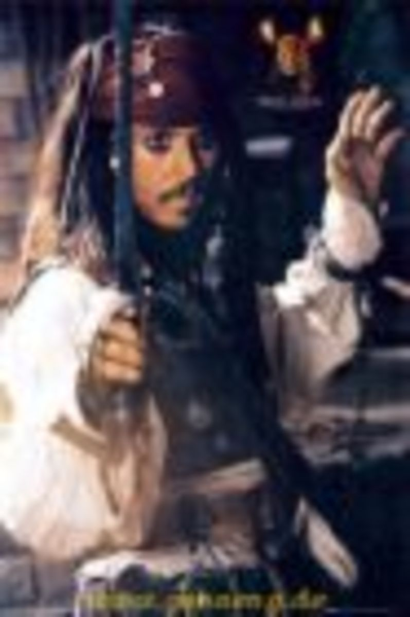 Captain Jack Sparrow, played by Johnny Depp, is the star of the Pirates of the Caribbean films.  The character is thought to be inspired by Calico Jack.