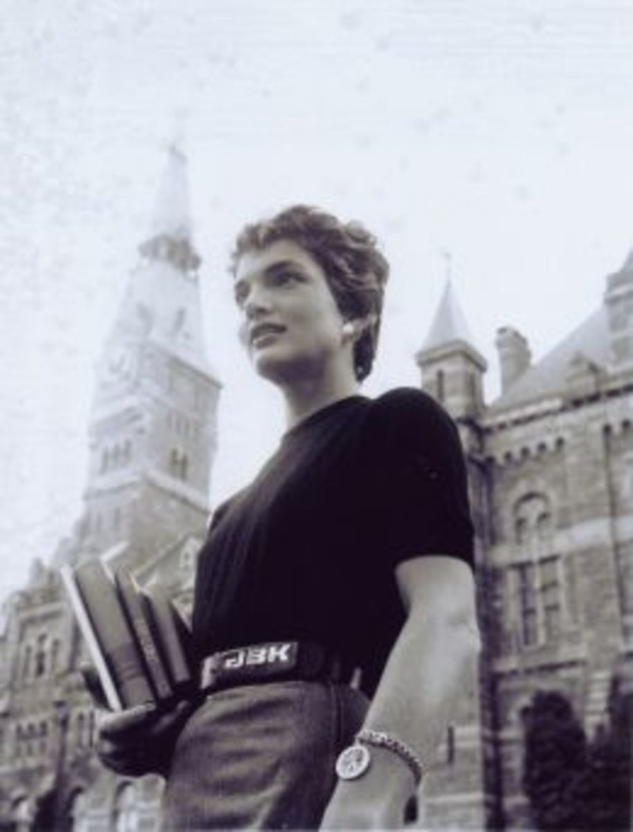Jackie Kennedy with her custom initial belt