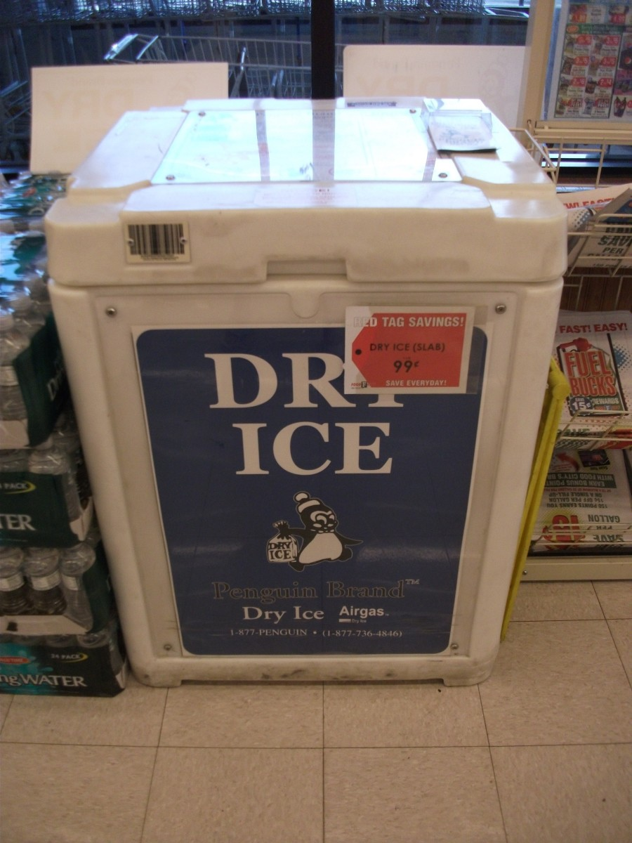 Cooler of dry ice in a grocery store