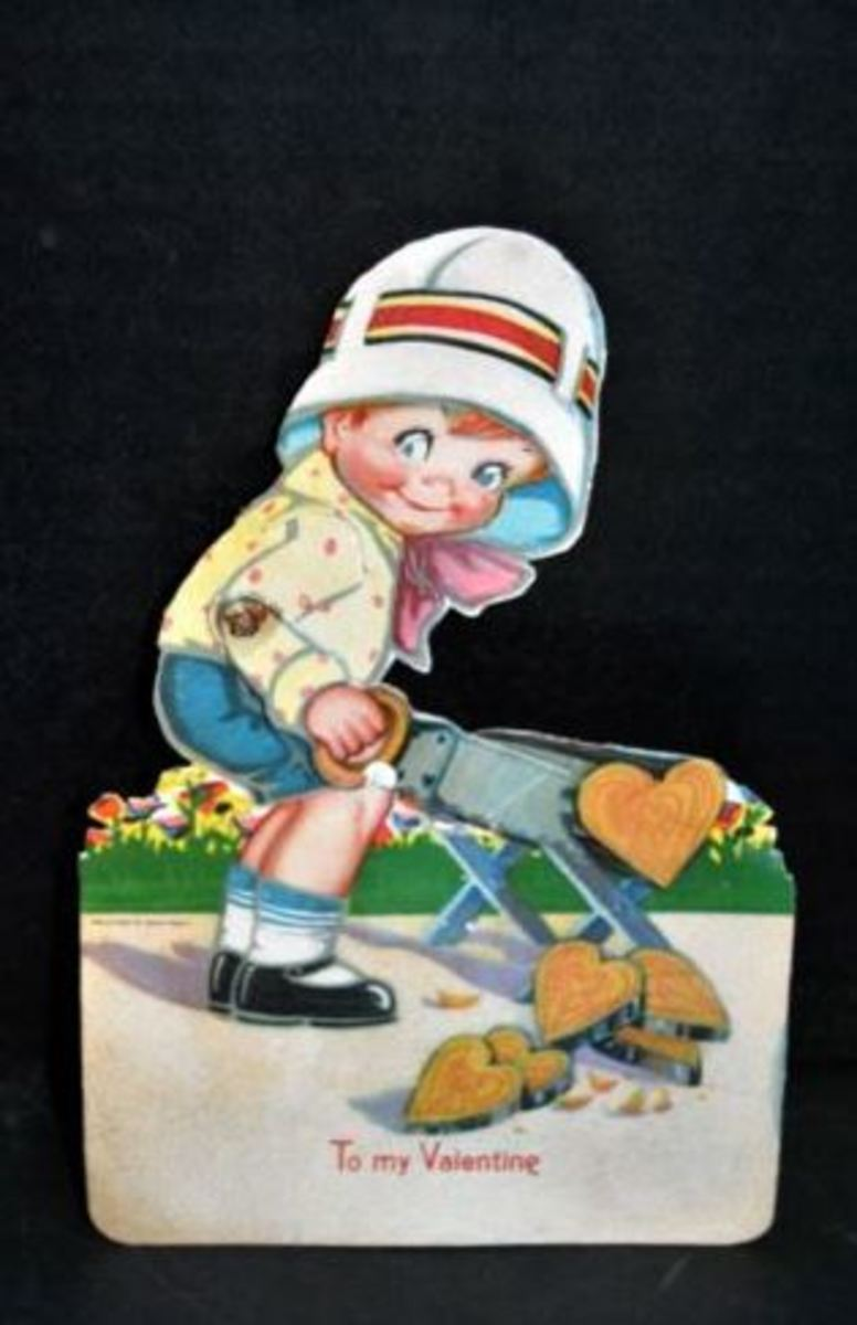 Antique German Valentine's Day Card - Cute Boy Cutting Heart Shaped Wooden Logs