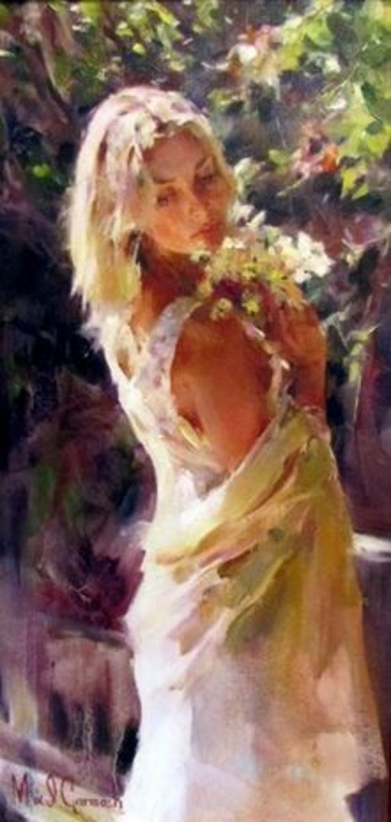 Romantic Original Oil Painting - Michael & Inessa Garmash  - Garden Memories