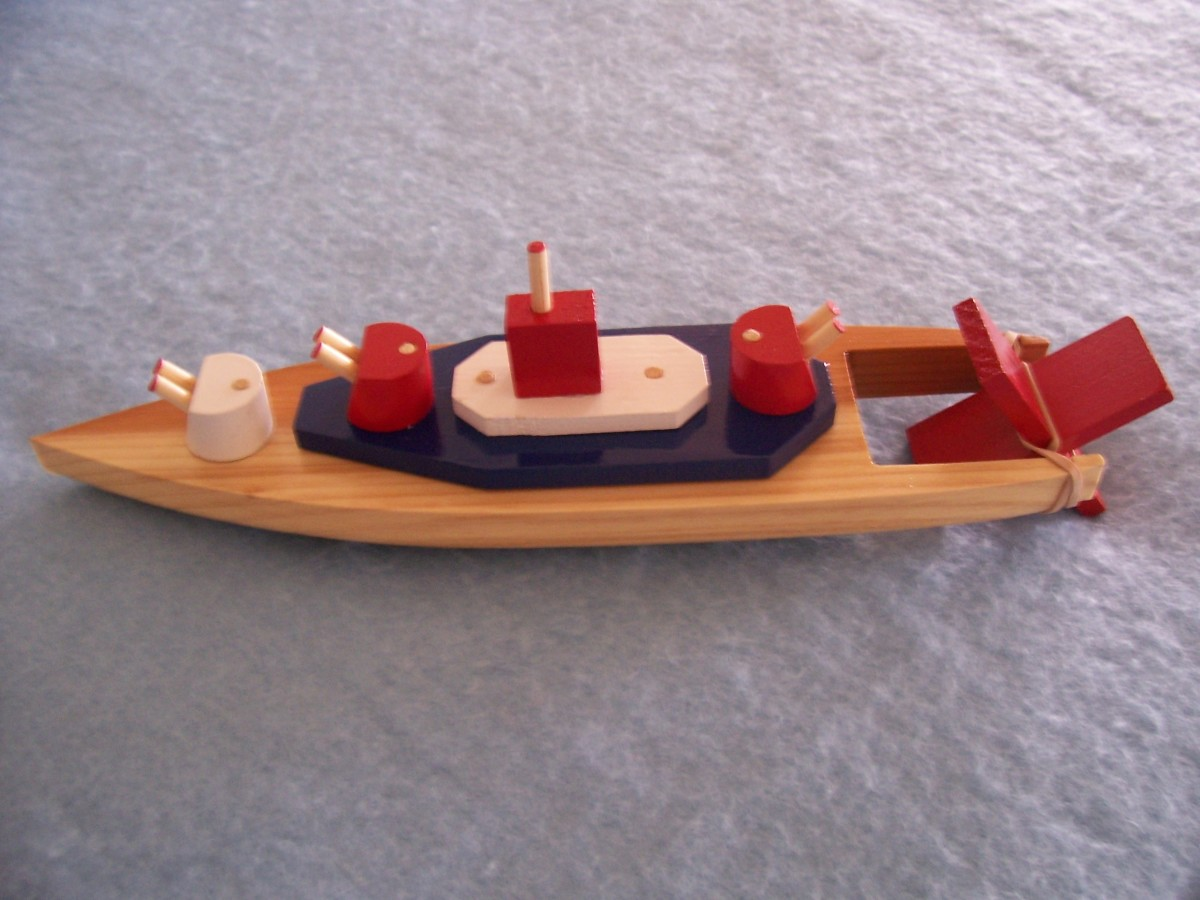 Another bath-tub toy, a paddle wheel battleship.