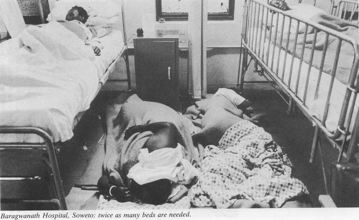 Overcrowded ward in Baragwanath (Chris Hani) Hospital with patients sleeping on the floor during the Apartheid era