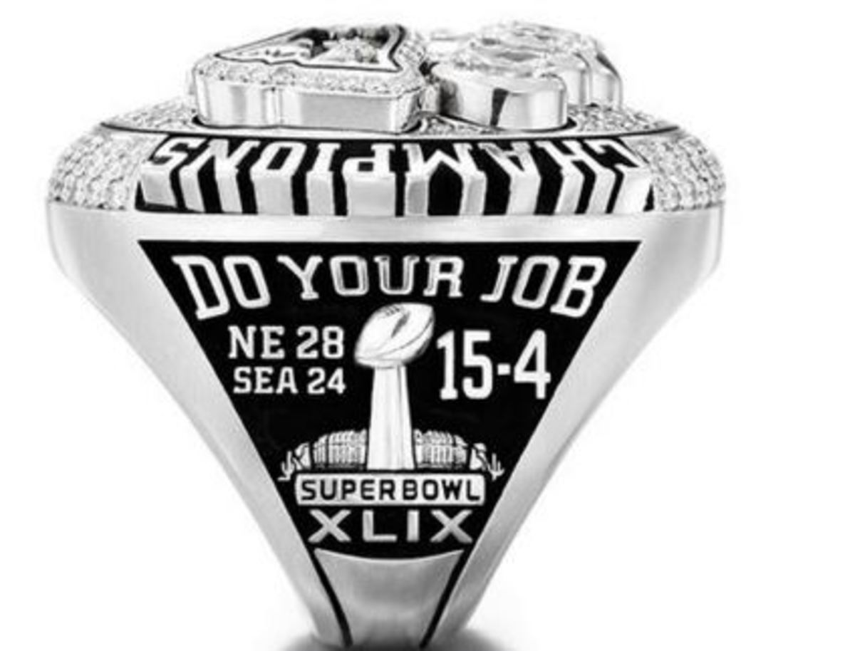 Sideview of the XLIX Super Bowl Ring - Logo - Do Your Job