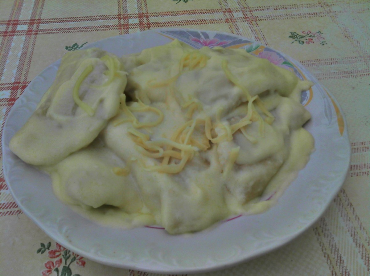 Completed Pierogi! (With some cheese garnish)
