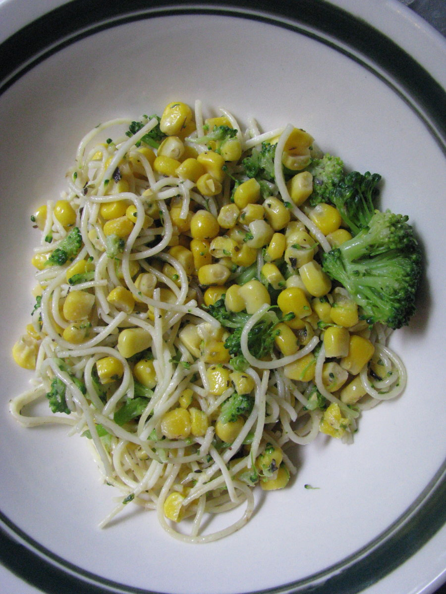 Broccoli and corn in buttered noodles