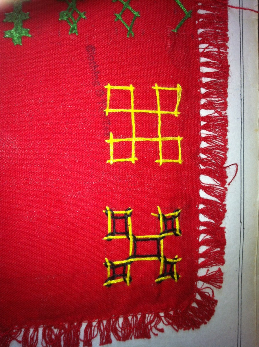 the basic structure is with yellow and the inter looping is done with black . it's done in contrastcolour so that one can see the movement of thread, otherwise this embroidery is done with single thread colour