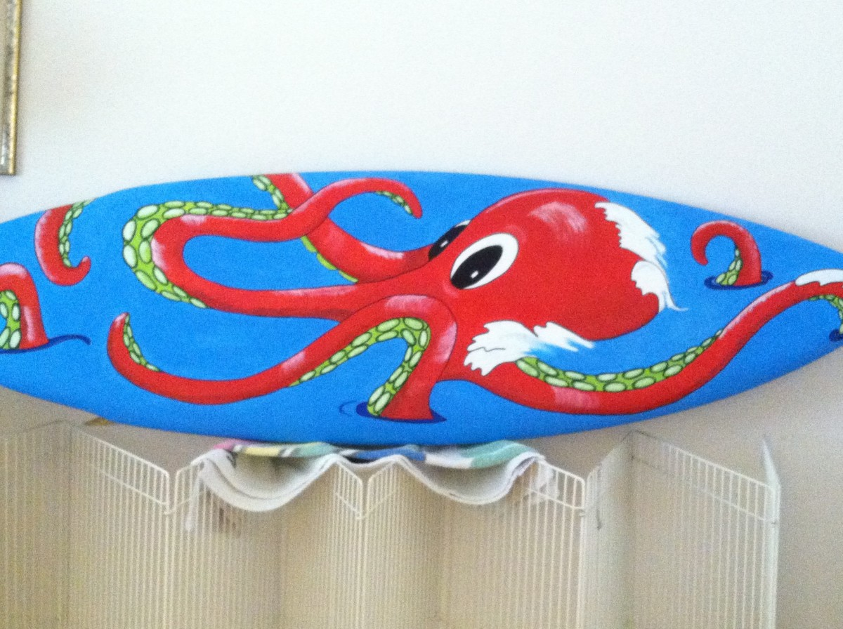 After the octopus was painted, I outlined everything in black to make everything stand out.