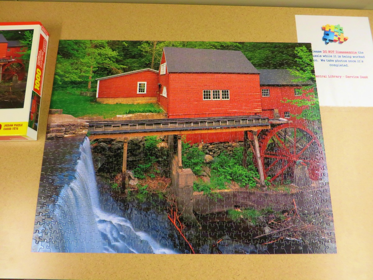 Another Masterpiece completed, Rustic Red Mill, Le Vieux Moulin, 1000 piece Jigsaw Puzzle, made by According to Hoyle