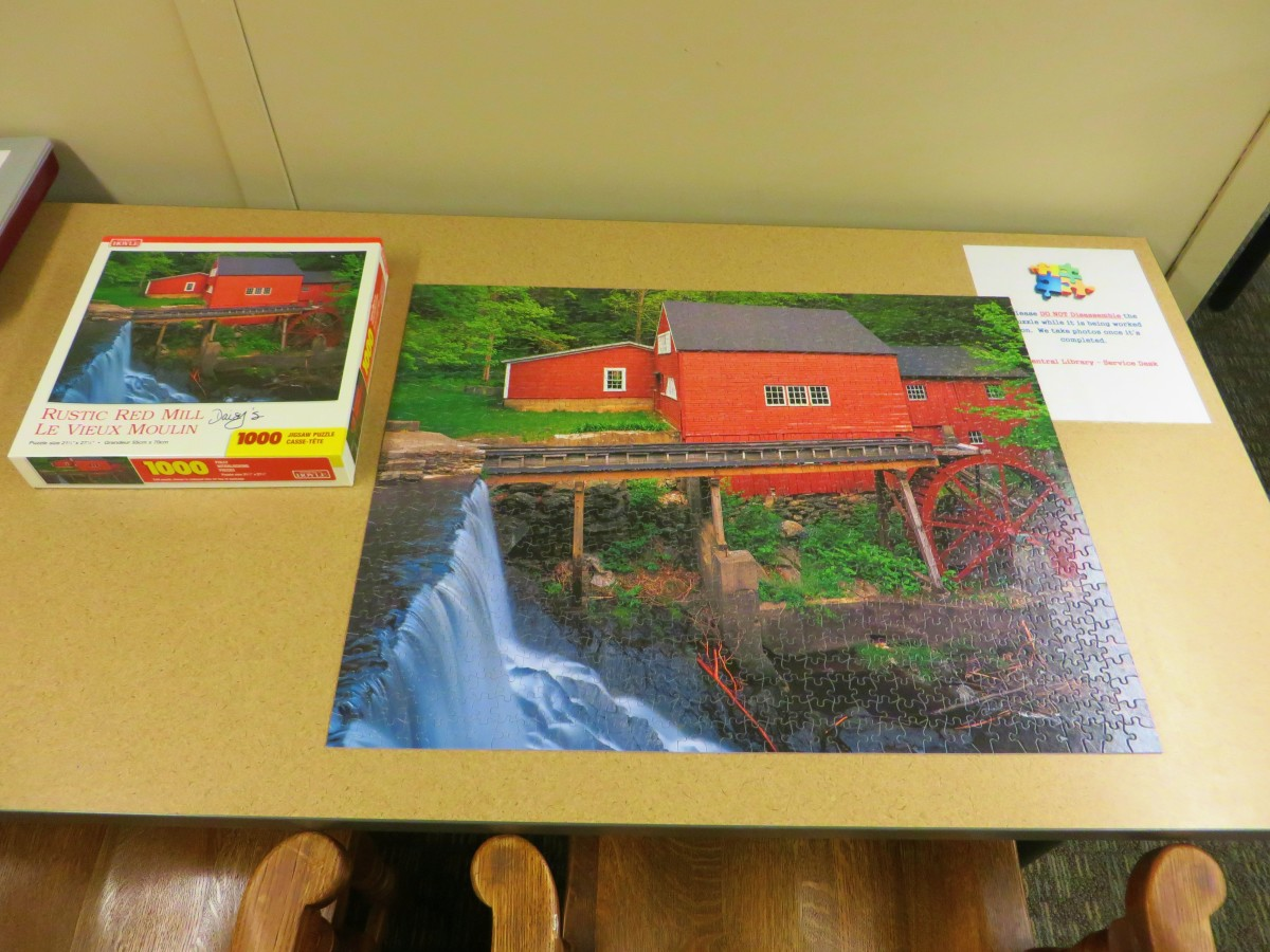 Rustic Red Mill, Le Vieux Moulin, 1000 piece Jigsaw Puzzle, made by According to Hoyle