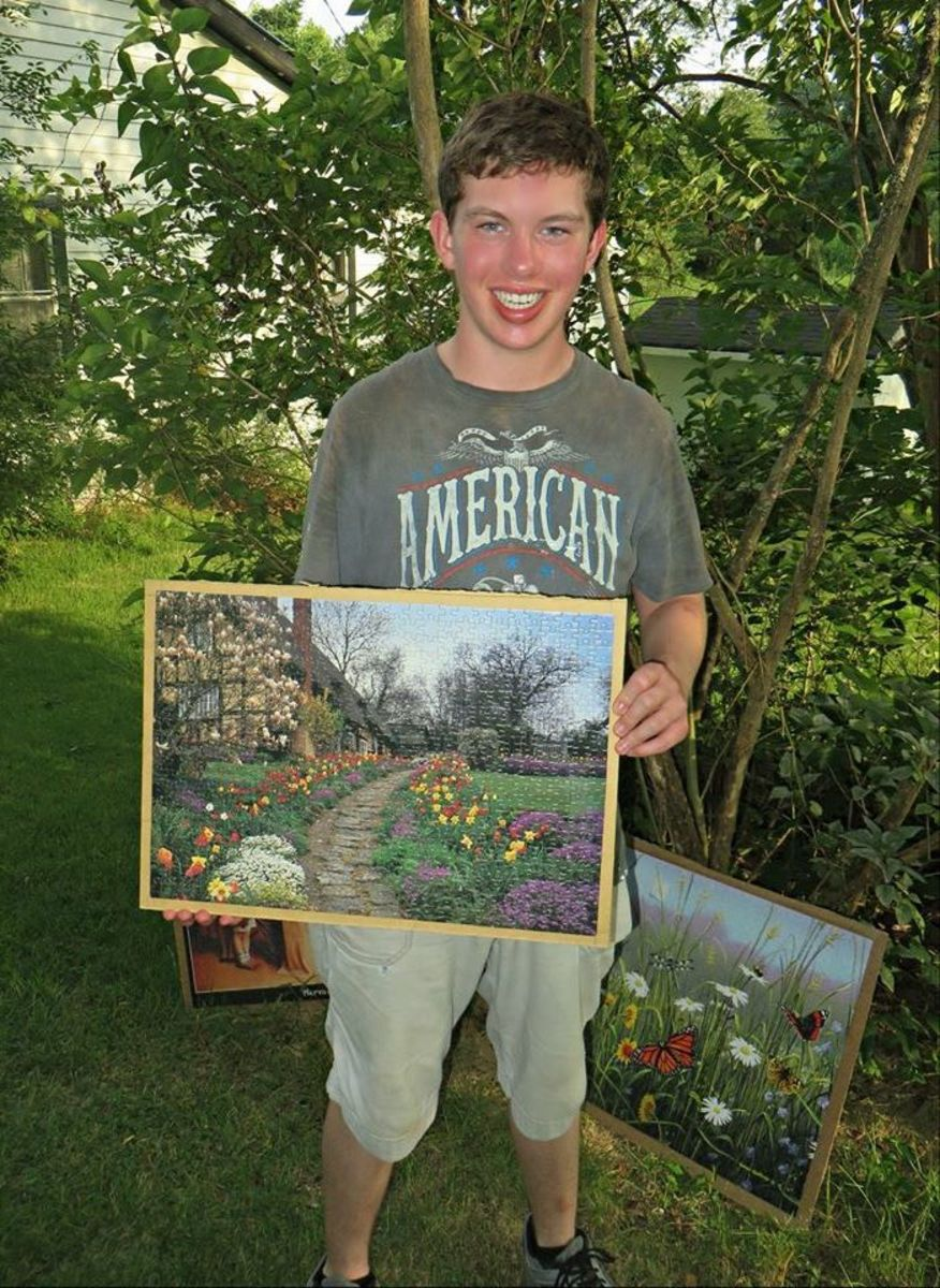 Grantley Waters and his English Spring jigsaw puzzle, this is a fun thing to do to beat the summer time heat wave .