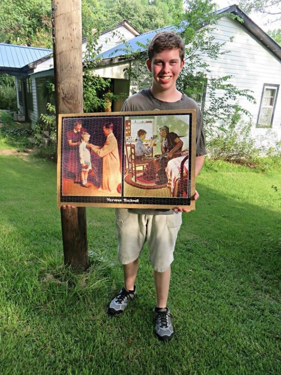 Grantley Waters finished up his Norman Rockwell jigsaw puzzle, this is a fun thing to do to beat the summer time heat wave