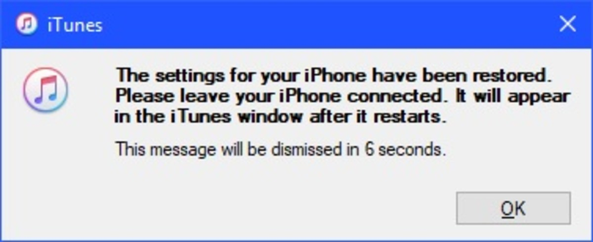 A message appears after the backup has been successfully restored to your device.