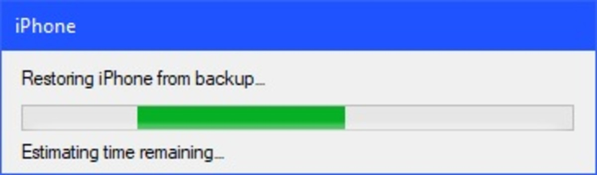 The progress bar will initially display a message that it is estimating the time remaining to restore the backup to your device.