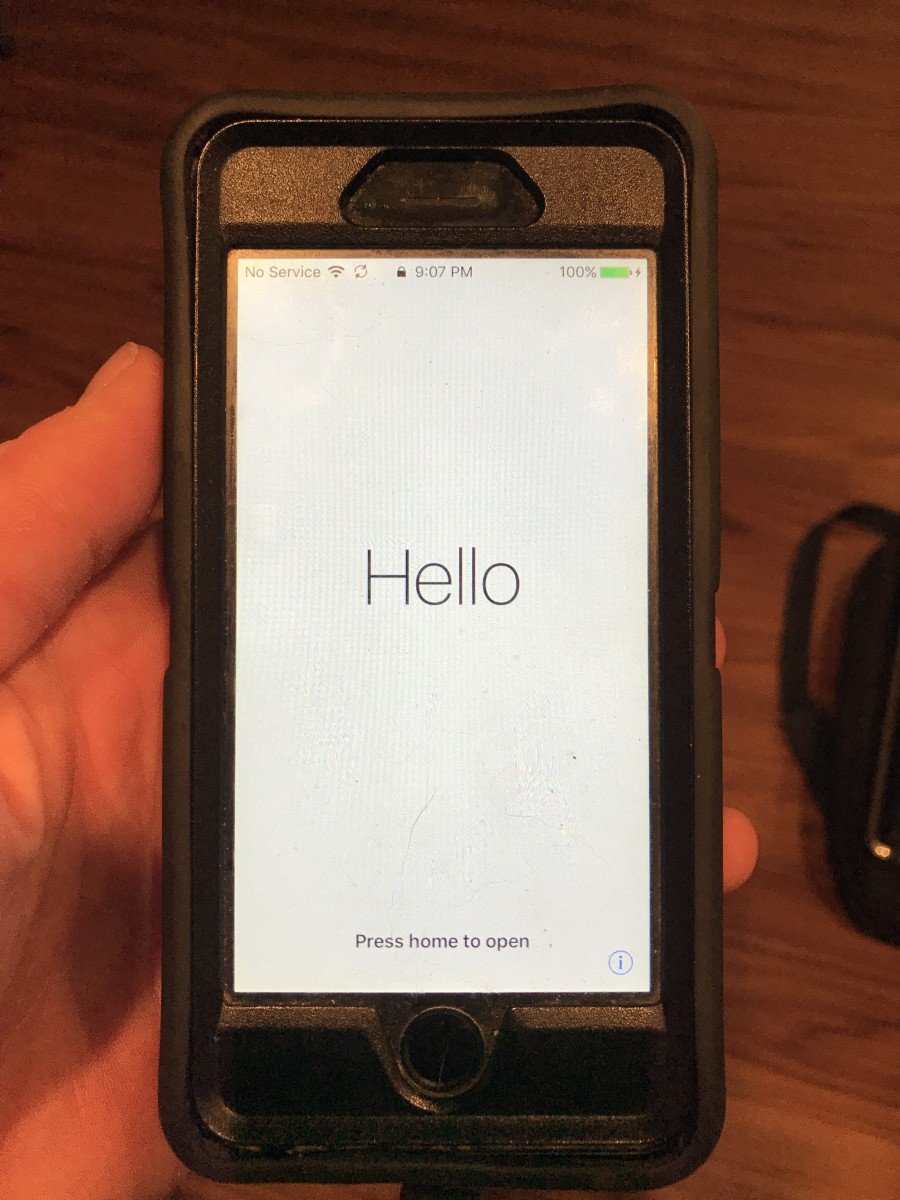 "Press the ""Home"" button on the Hello screen."