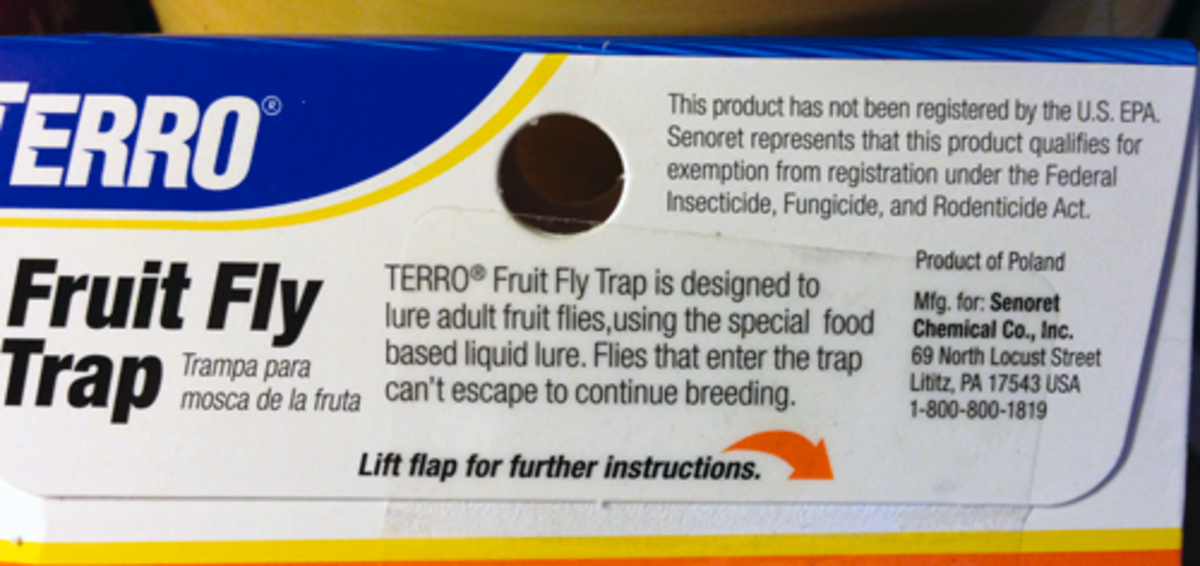 This information was found on a clear plastic sticker that was added to Fruit Fly Trap packaging.