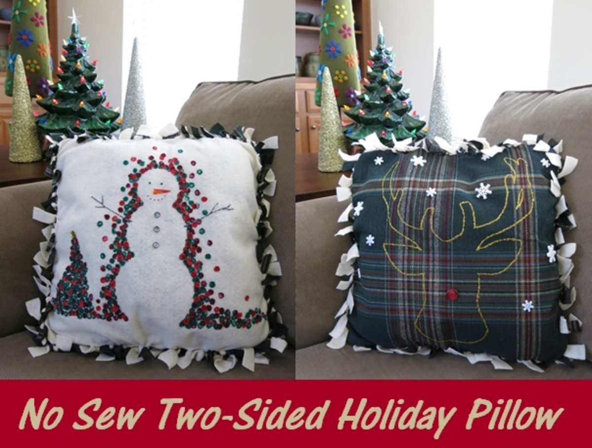 Easy Christmas Craft:  No-Sew Winter Holiday Decorative Pillow