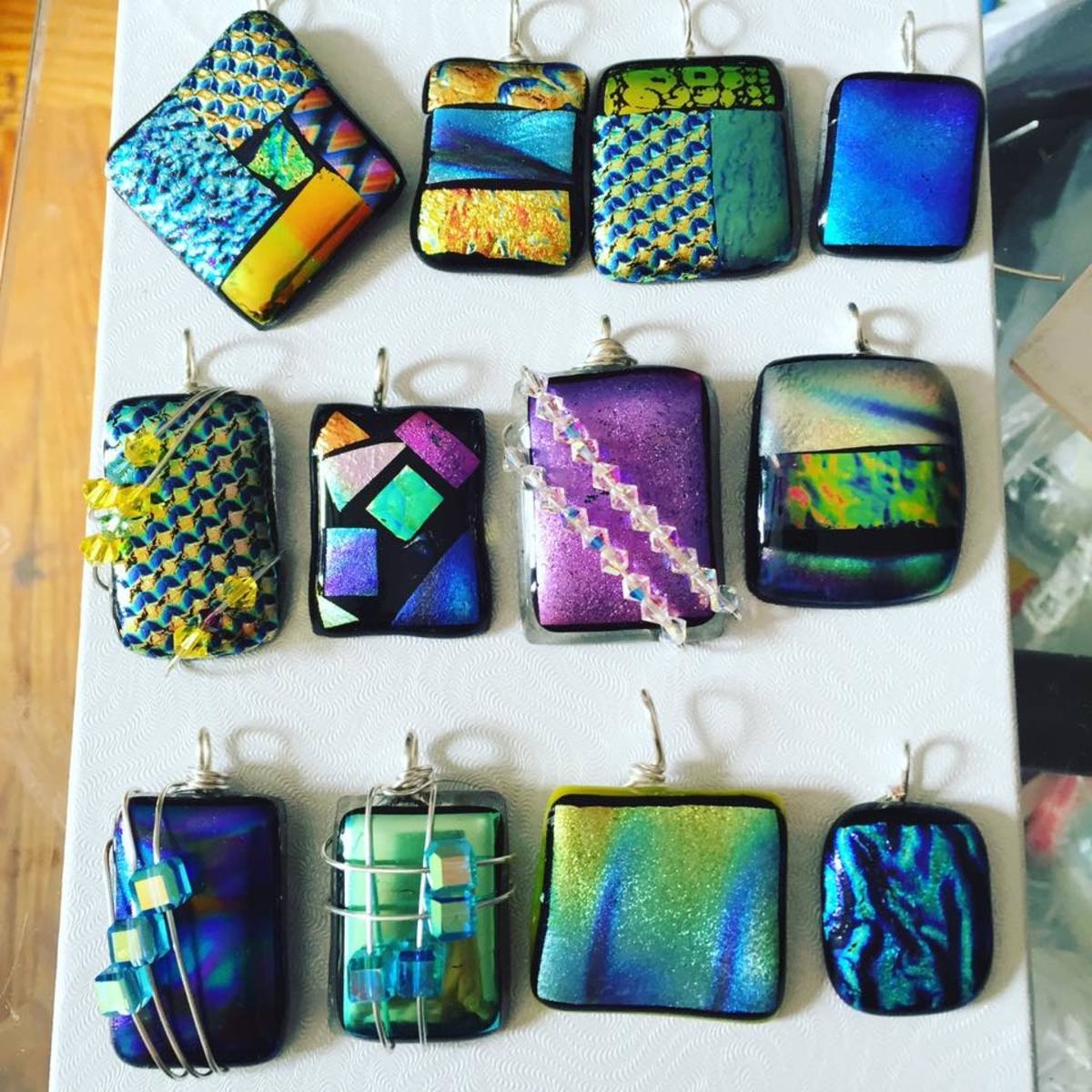 A few samples of my fused glass pendants!