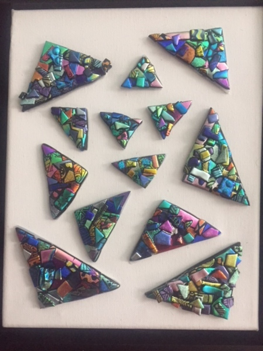 Abstract fused glass mosaic