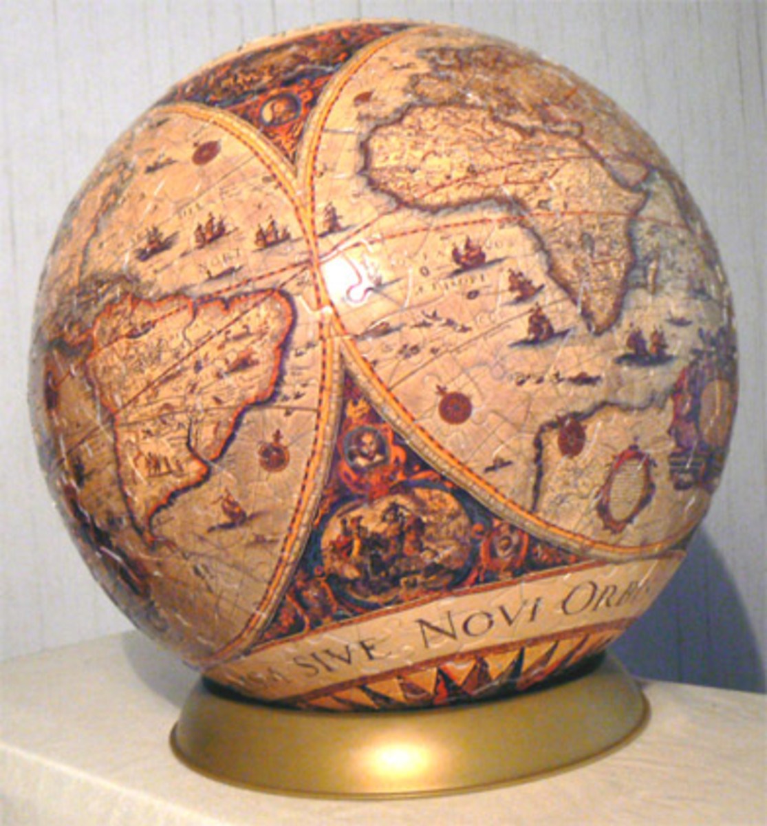 A finished globe 3D puzzle - fun to piece together and beautiful upon completion!