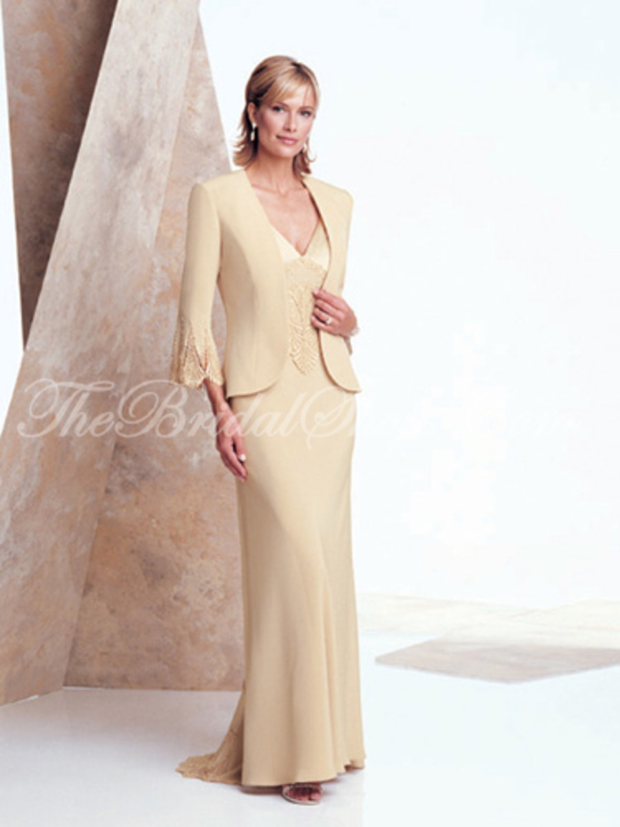 Suit dresses are a nice dress choice for mature brides.